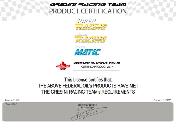 Federal Oil Mendapatkan Product Certification dari Gresini Racing