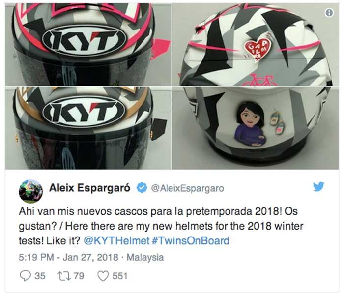 Helm KYT Espargaro Bergambar Ibu Hamil, Ternyata ini Artinya