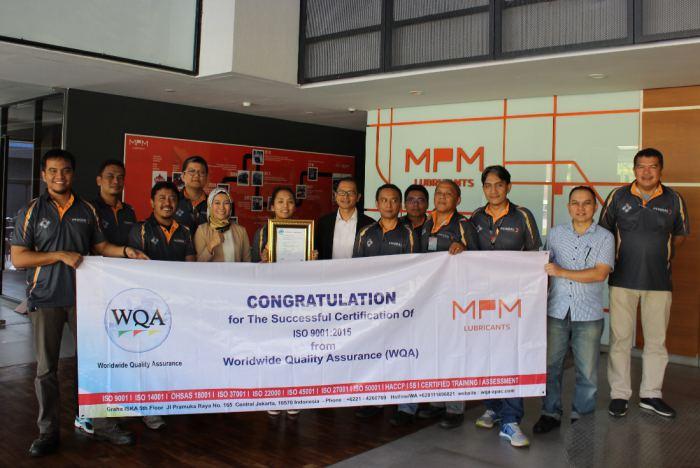 PT MPM Lubricants Terima Sertifikat ISO 9001:2015