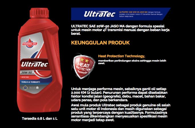 Federal Oil Ultratec, Oli Motor Spesial Untuk Mesin Bertransmisi Manual