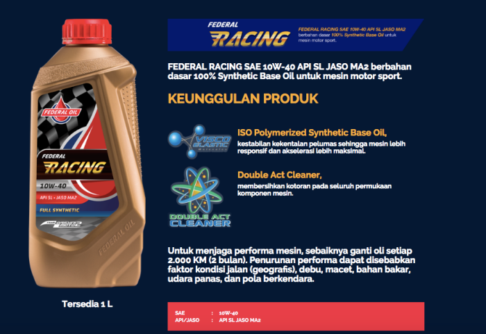 Federal Racing, Oli Motor Spesial Dengan Fiskositas Rendah