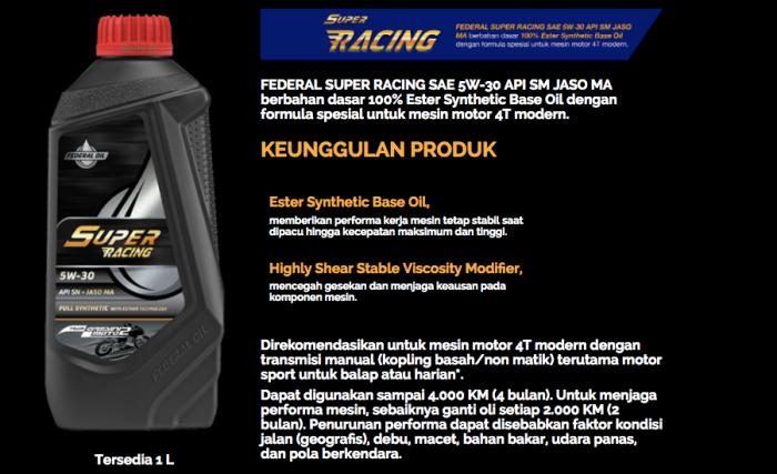 Federal Super Racing, Oli Untuk Motor Performa Tinggi