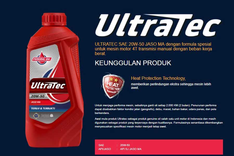 Federal Ultratec Untuk Mesin Motor Yang Bekerja Berat