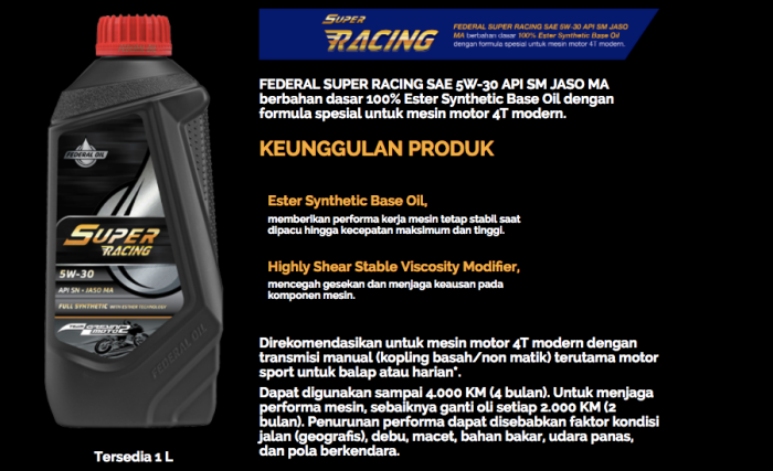 Federal Super Racing Oil Buat Pecinta Motor Sport