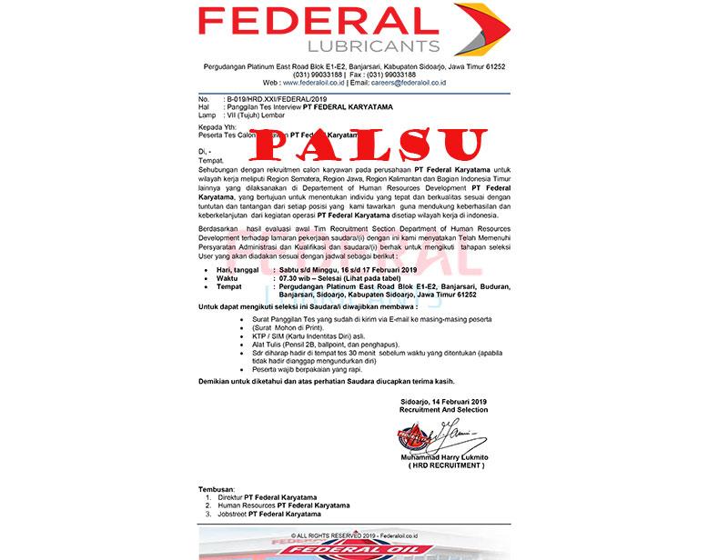 Hati-Hati Penipuan Penerimaaan Karyawan Mengatas Namakan PT Federal Karyatama