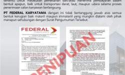 Waspada Penipuan Penerimaan Karyawan PT Federal