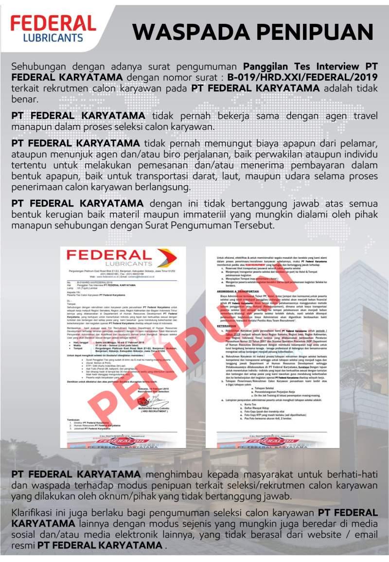 Waspada Penipuan Penerimaan Karyawan PT Federal Karyatama