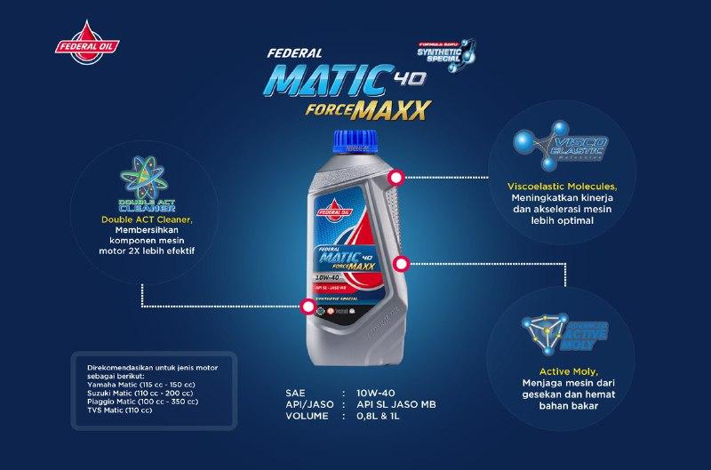 Federal Matic Forcemaxx , Oli Spesialis Dingin Untuk Motor Matic Yamaha dan Vespa