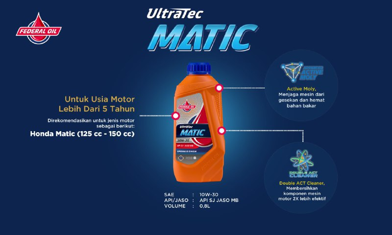 Federal Ultratec Matic, Oli Motor Matic Untuk Honda BeAT Yang Usianya Lebih Dari 5 Tahun