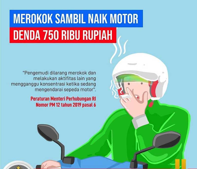 Naik Sambil Merokok, Siap-Siap Denda Rp750 Ribu