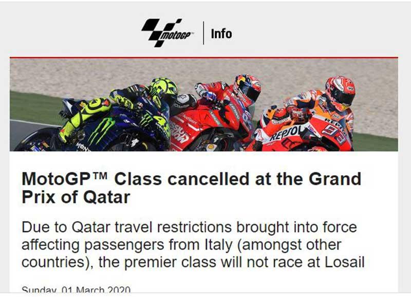 Dampak Virus Corona, Kelas MotoGP Qatar 2020 Dibatalkan !!