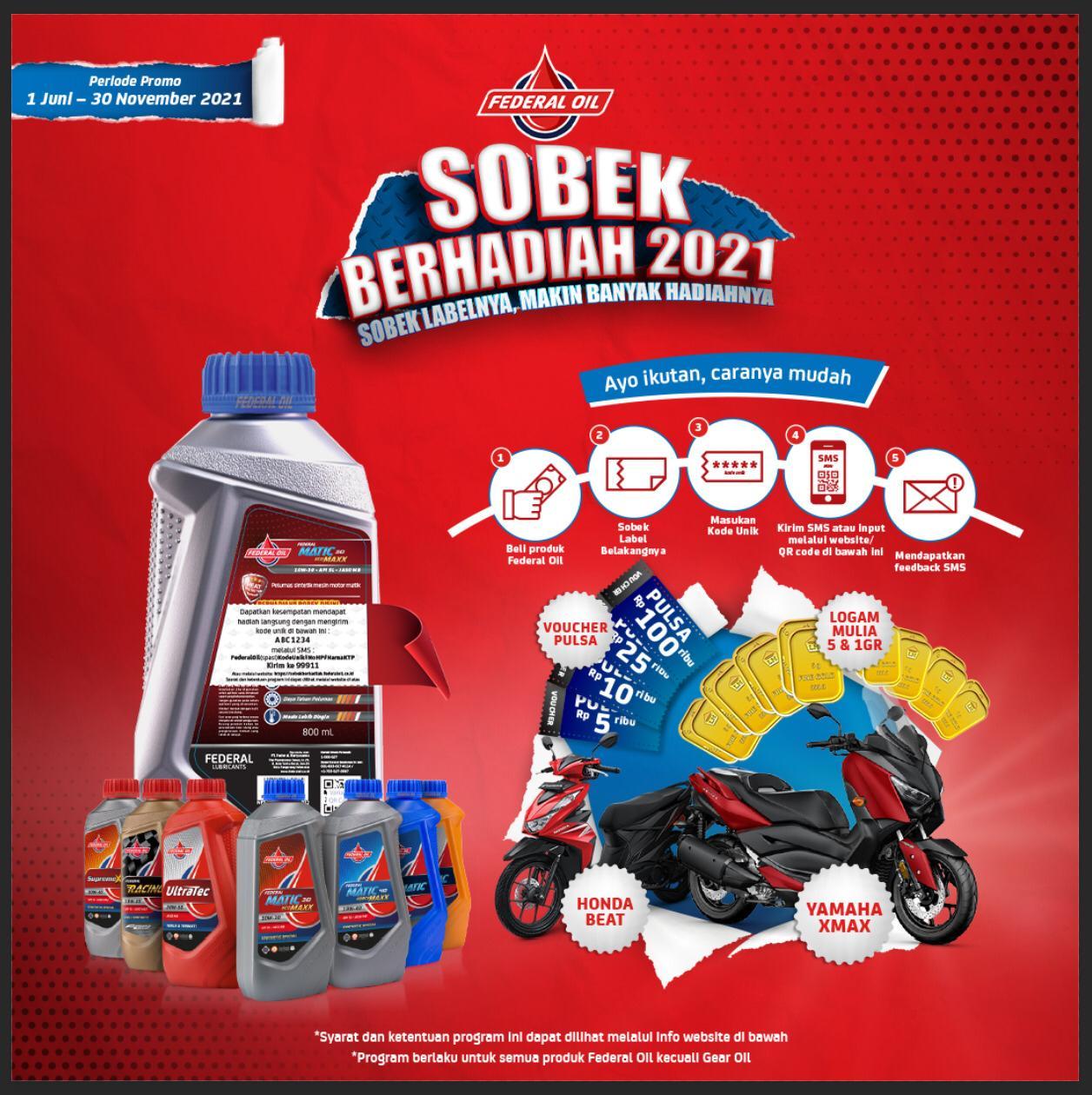 Federal Oil Sobek Berhadiah 2021, Ada Emas dan Motor Matic 250cc